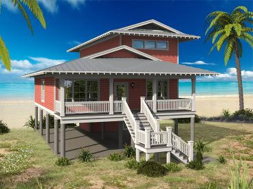 Beach House Plan, 062H-0129