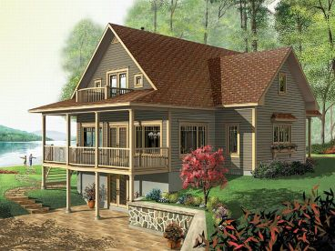 Waterfront Home, Rear, 027H-0106