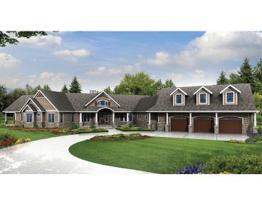 Luxury Craftsman Home Plan, 051H-0244
