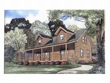 Country Log House Plan, 025L-0012