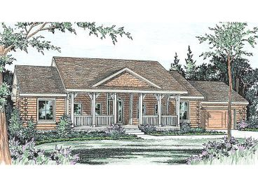 Country Log Home Plan, 031L-0005