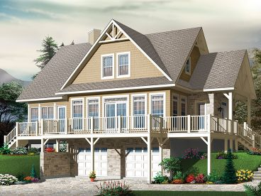 Mountain House Plan, Rear, 027H-0452