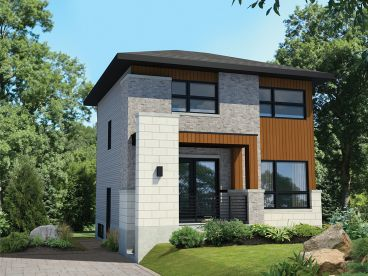 Modern Narrow Lot Home Plan, 072H-0172