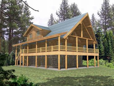 Log Home, Front/Right, 012L-0029