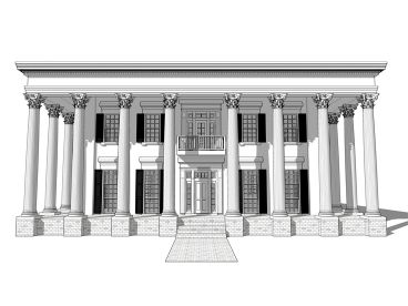 Greek Revival House Plan, 052H-0031