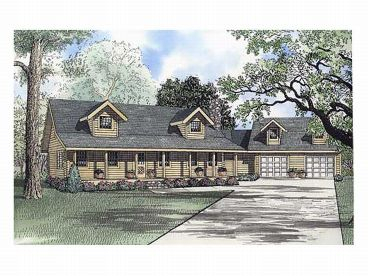Country Log Home Plan, 025L-0049