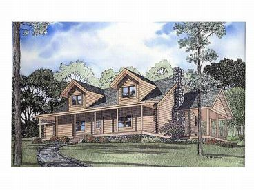 2-Story Log Home Plan, 025L-0004