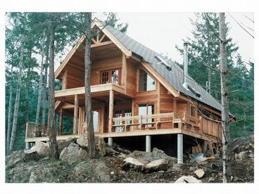 A-Frame House Plan, Rear, 010H-0004