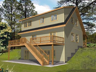 Narrow Lot House Plan, Rear, 012H-0153