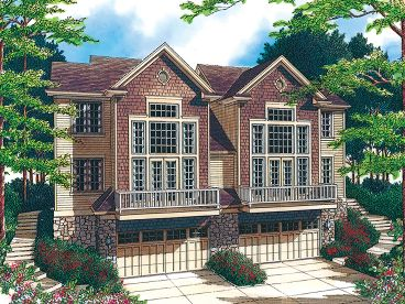 Sloping Lot Duplex Plan, 034M-0010