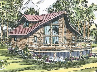 Small Log Home Plan, 051L-0005