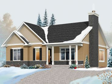 Narrow Lot Empty-Nester Home Plan, 027H-0423