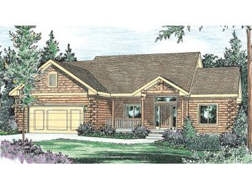 1-Story Log Home Plan, 031L-0004