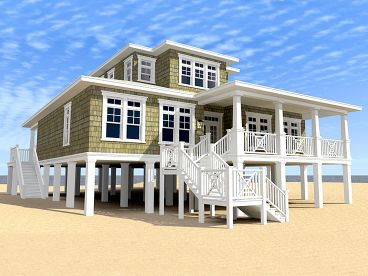 Beach house plans two story coastal home plan 052h for Beach house designs on pilings