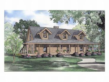 Country Log Home Plan, 025L-0041