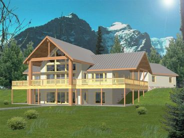 Hillside Home Plan, Rear, 012H-0047