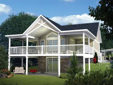 Waterfront Home Plan, Rear, 072H-0199