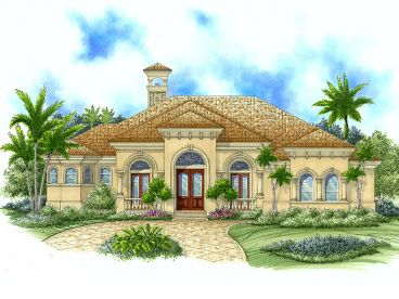 Stucco House Plan, 037H-0008