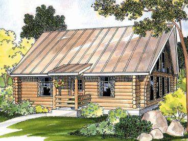 Log Cabin House Plan, 051L-0007