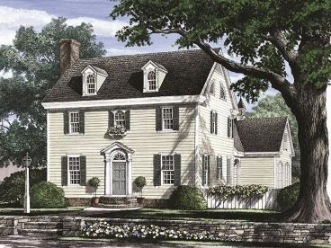 Colonial house plans the house plan shop One story colonial house plans