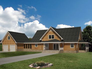 Log Home Plan, Rear, 012L-0074