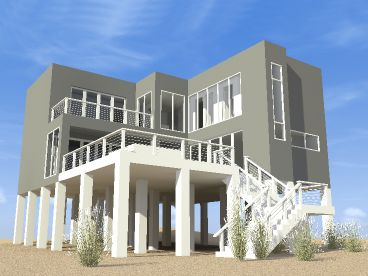 Modern Beach House Plan, 052H-0057