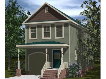 narrow lot house plan 058h 0069 - Small Two Story Narrow Lot House Plans