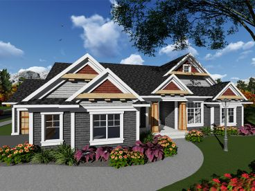 Craftsman Ranch House Plan, 020H-0413