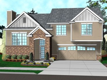 Split-Level House Plan, 050H-0115
