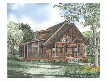 Log Cabin House Plan, 025L-0022