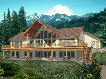 Mountain House Plan, Rear, 012H-0112