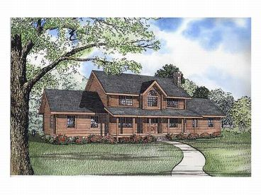 2-Story Log Home Plan, 025L-0017