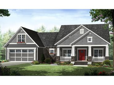 Craftsman Home Plan, 001H-0174