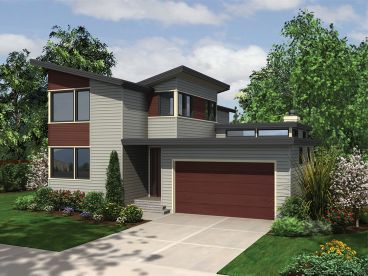 Narrow Modern House Plan, 034H-0420