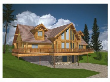 Log House Plan, Rear, 012L-0022