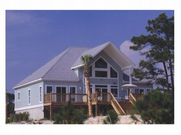 Beach Home Plan, Rear, 017H-0010