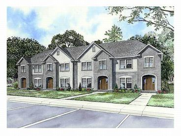 Multi family house plans triplexes townhouses the house for Multi family house plans with courtyard