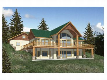 Mountain House Plan, Rear, 012H-0005