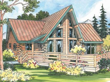 Vacation Log House Plan, 051L-0003