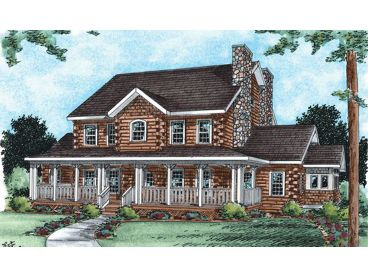 2-Story Log Home Plan, 031L-0020