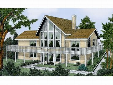 Waterfront Home, Rear, 026H-0018