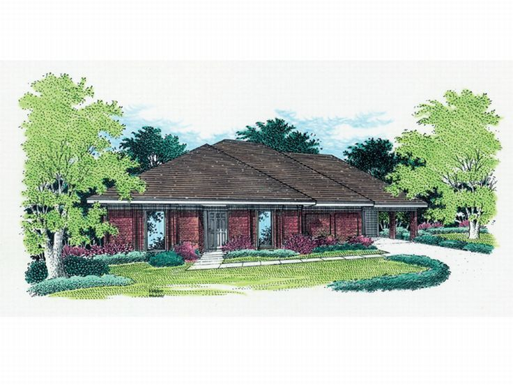 Ranch Home Plan, 021H-0020