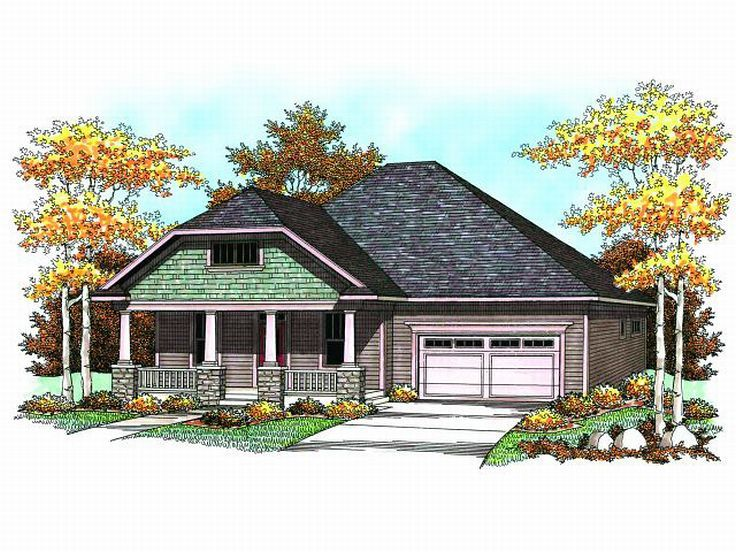 1-Story Craftsman Home, 020H-0165