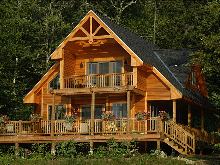 Vacation house plans 3 bedroom two story home design 010h 0016 at - Wooden vacation houses nature style ...