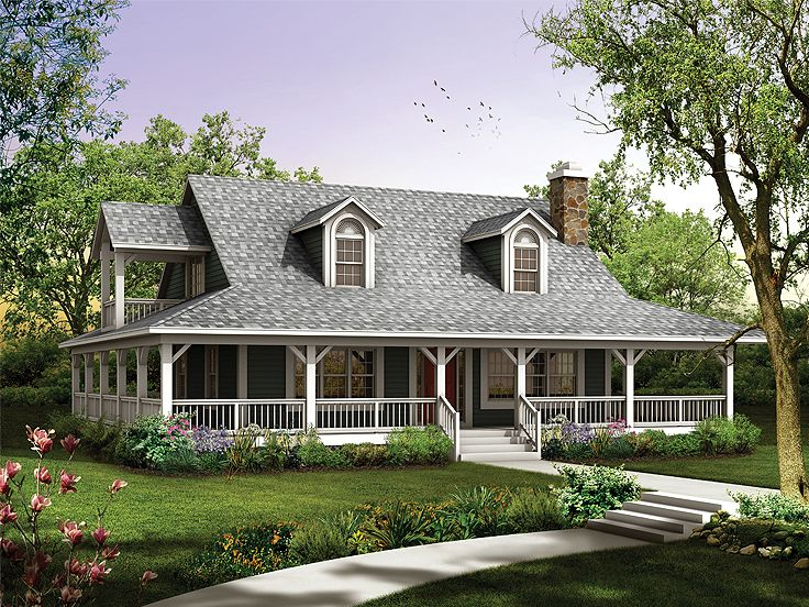2 story country home 057h 0034 - 2 Story Country House Plans