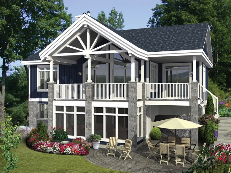 Vacation House Plan, Rear, 072H-0192