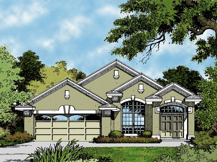 Stucco House Plan, 043H-0042