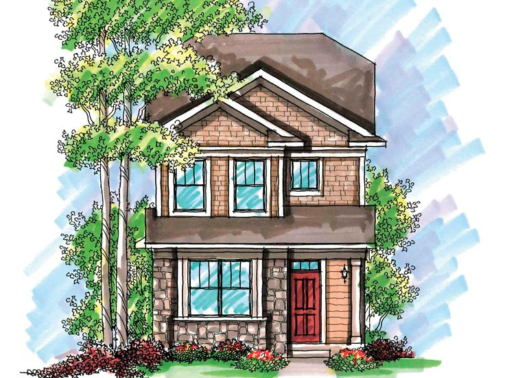 Narrow Lot Home Plan, 020H-0199