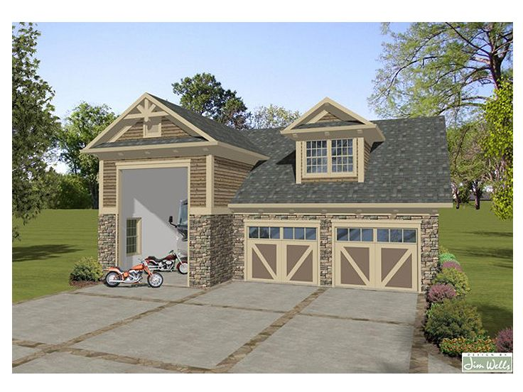 Rv garage plan rv garage with carriage house design for Unique garage plans