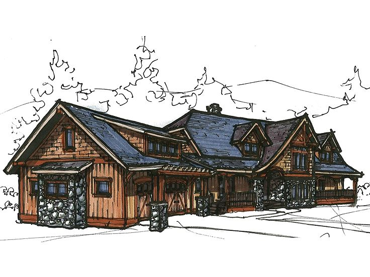 Rustic Luxury Home Plan, 025H-0195